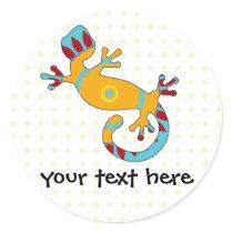 pop gecko tribal classic round sticker