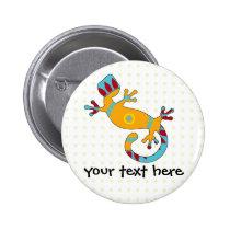 pop gecko tribal pinback button