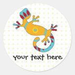 pop gecko tribal round stickers