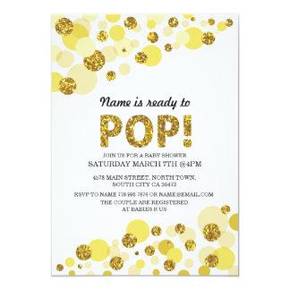 Pop Gender Reveal Baby Shower Yellow Gold Invite