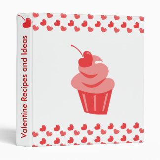 Pop Heart Cupcake 3 Ring Binder