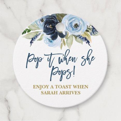 Pop it when She Pops blue floral Favor Tags