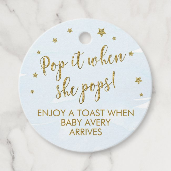 Pop it when she pops favor tags, Wine Tag