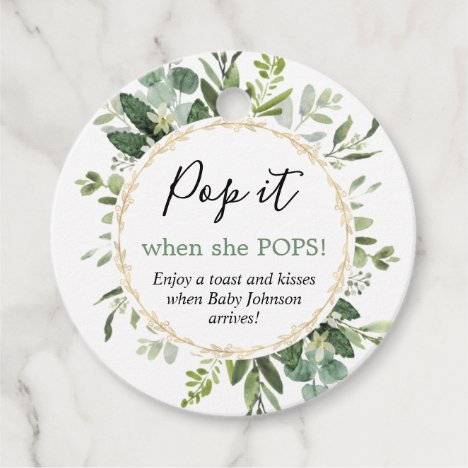 Pop it when she pops greenery gold baby shower favor tags