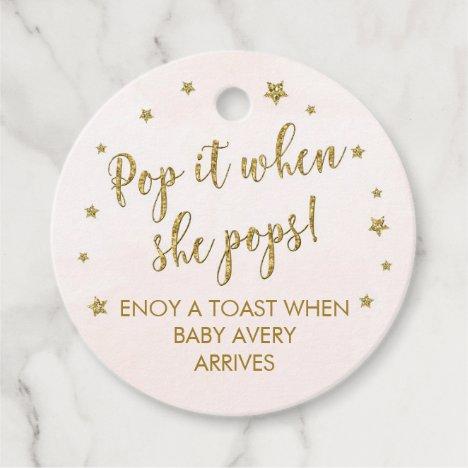 POP IT when she pops mini wine bottle tags, favor Favor Tags