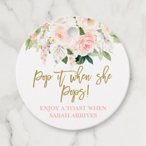 Pop it when She Pops pink and gold floral Favor Tags