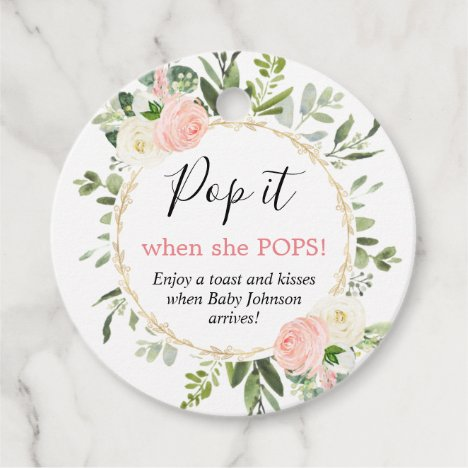 Pop it when she pops pink gold greenery baby favor tags