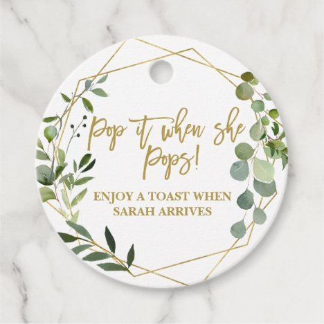 Pop it when She Pops watercolor eucalyptus Favor Tags