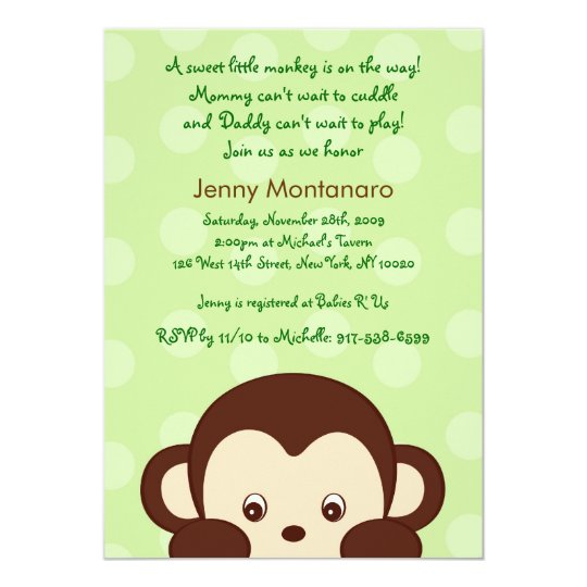 Pop Mod Monkey Dots Custom Baby Shower Invitations
