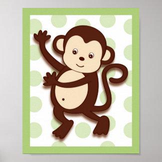 Pop Mod Monkey Jungle Nursery Wall Art Print 8X10