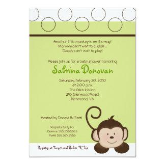 POP MONKEY 5x7 Green Neutral BABY SHOWER 5x7 Paper Invitation Card