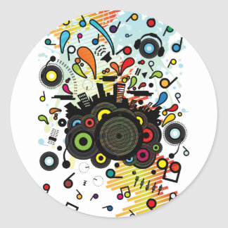 POP_MUSIC CLASSIC ROUND STICKER