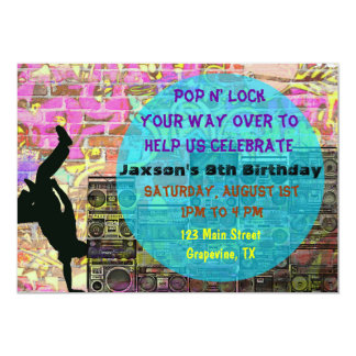 Pop N Lock Break Dance 80's Birthday Party Invite