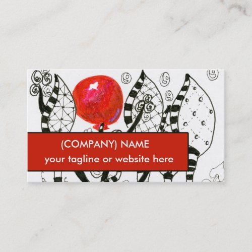 Pop of Color Red Balloon Zendoodle Fanciful Forest Business Card