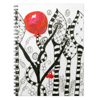 Pop of Color Red Balloon Zendoodle Fanciful Forest Spiral Notebook