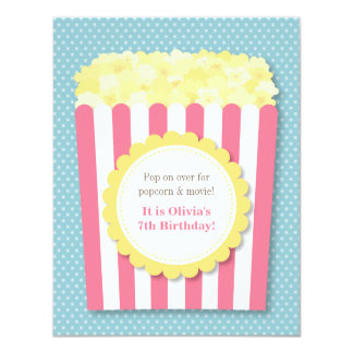 Pop Over Popcorn Movie Night Birthday Party Card