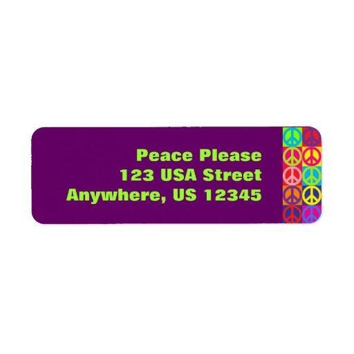Pop Peace Signs Return Address Label