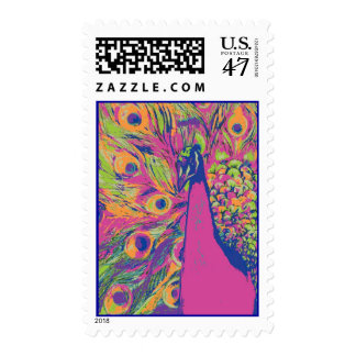 Pop Peacock Postage Stamp