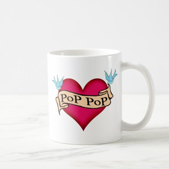 Pop Pop - Custom Heart Tattoo T-shirts & Gifts Coffee Mug