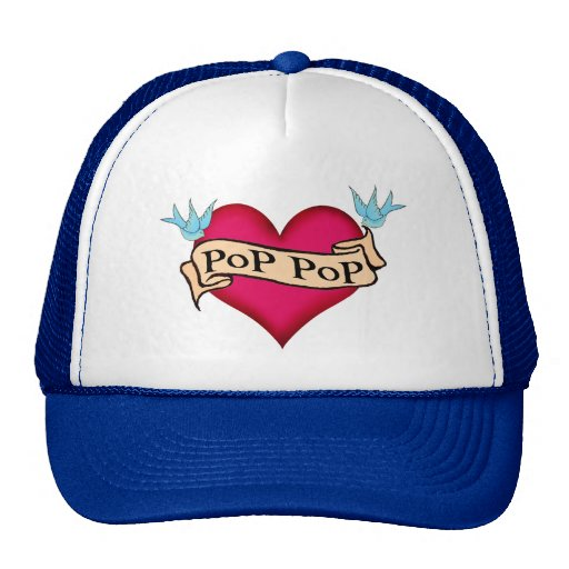Pop pop custom heart tattoo t shirts gifts mesh hat for Custom t shirts personalized gifts