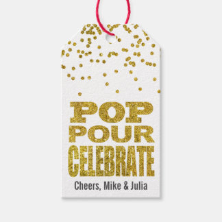 Pop Pour Celebrate Gold Faux Glitter Custom Wine Gift Tags