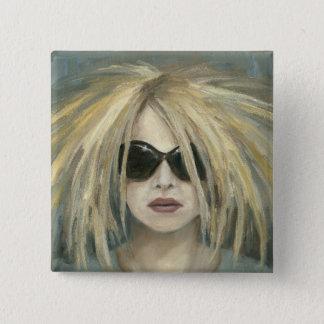Pop Punk Grrrl Modern Painting Female Portrait Button