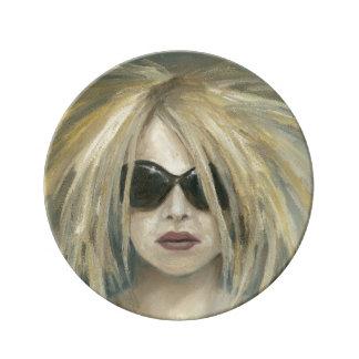 Pop Punk Grrrl Modern Painting Female Portrait Dinner Plate