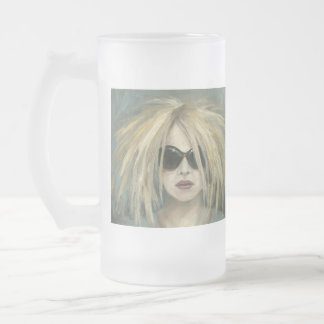 Pop Punk Grrrl Modern Painting Female Portrait Frosted Glass Beer Mug
