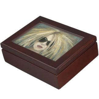 Pop Punk Grrrl Modern Painting Female Portrait Memory Box