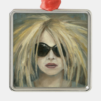 Pop Punk Grrrl Modern Painting Female Portrait Metal Ornament