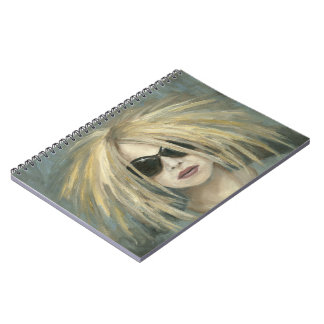 Pop Punk Grrrl Modern Painting Female Portrait Notebook