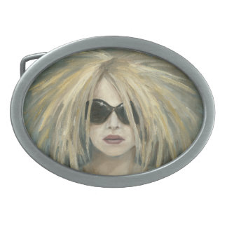 Pop Punk Grrrl Modern Painting Female Portrait Oval Belt Buckle