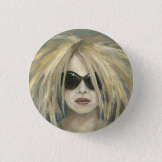 Pop Punk Grrrl Modern Painting Female Portrait Pinback Button