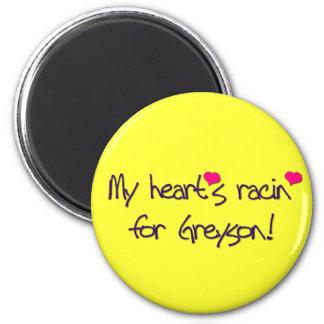 "POP RETRO ""MY HEART'S RACIN FOR GREYSON!"" MAGNET"