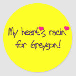 "POP RETRO ""MY HEART'S RACIN FOR GREYSON!"" ROUND STICKER"