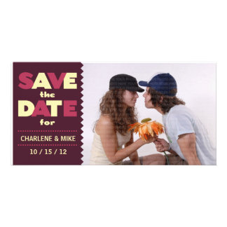 Pop Scene (Cherry/Cream) Save the Date Photo Picture Card