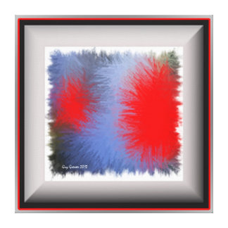 Pop square blue & red art canvas print
