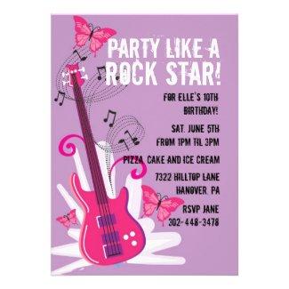Pop Star Birthday Party Invitation