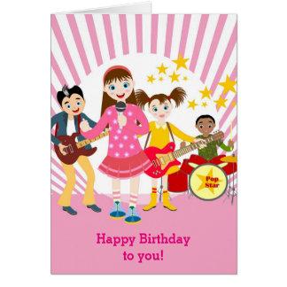 Pop star girl birthday party card