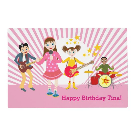 Pop star girl birthday party placemat