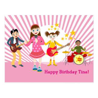 Pop star girl birthday party postcard
