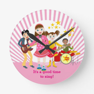 Pop star girl birthday party round clock