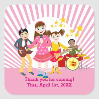 Pop star girl birthday party square sticker