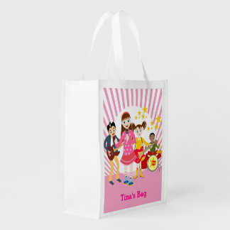 Pop star girl birthday party reusable grocery bags