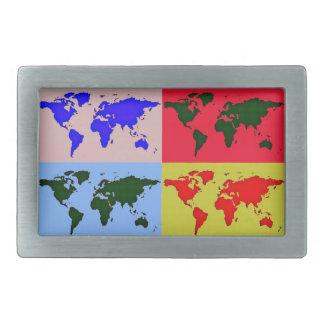 pop style world map rectangular belt buckle