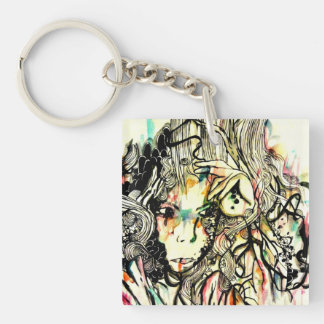 Pop surreal watercolor art abstract portrait keychain