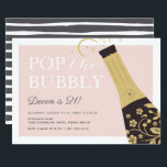 "Pop the Bubbly | Birthday Party Invitation<br><div class=""desc"">Pop the champagne! Cute birthday party invitations for milestone birthdays,  21st birthday party or any birthday celebration feature a black and gold bottle of champagne with the words ""pop the bubbly"" in chic white lettering. Personalize with your party details beneath.</div>"