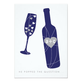 Pop the Question Engagement Party Invitation Navy