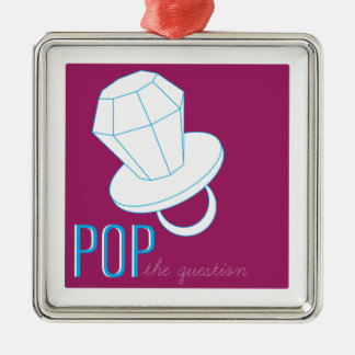 Pop The Question Square Metal Christmas Ornament