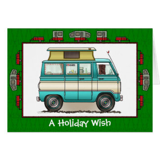 Pop Top Camper RV Trailer Holiday Wish Greeting Card